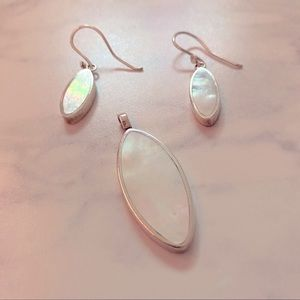 Mother of pearl teardrop pendant and earring set